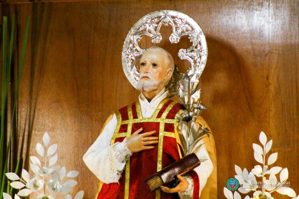 Image of St. Philip Neri at his pilgrim altar inside the Church.